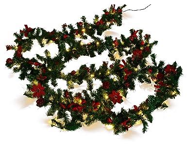 Weihnachtsdeko Verkaufen.Weihnachtsdeko Tannen Girlande Mit 80 Led Und Deko Rot