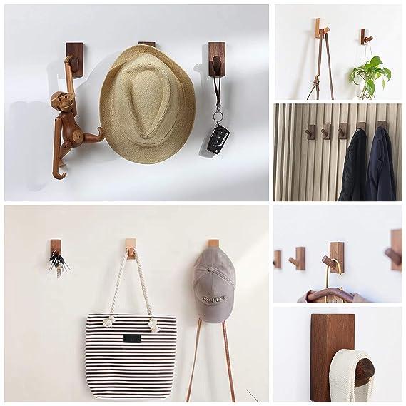 Amazon.com: HomeDo - Ganchos de pared de madera, ganchos ...
