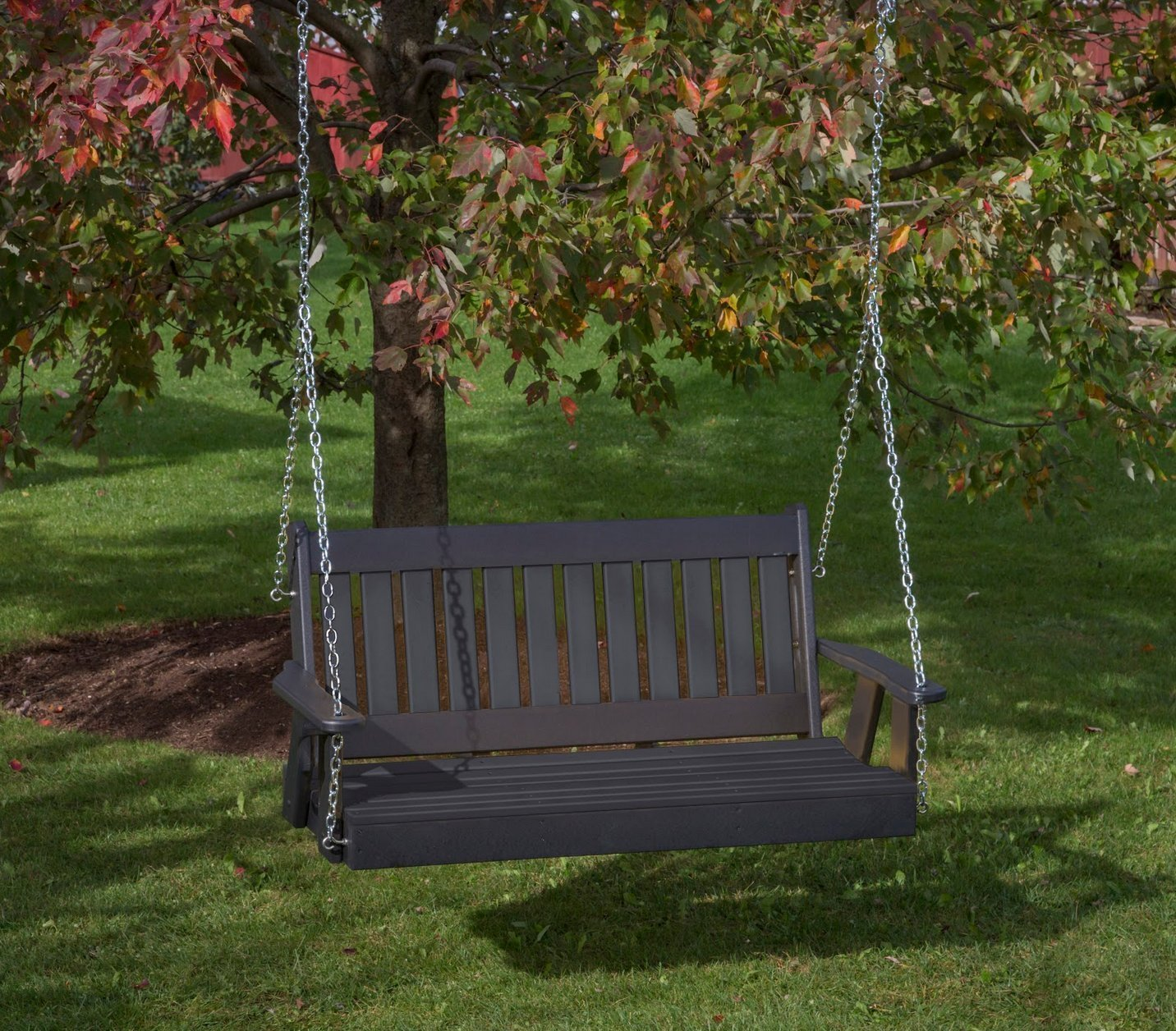 5FT-BLACK-POLY LUMBER Mission Porch Swing Heavy Duty EVERLASTING PolyTuf HDPE - MADE IN USA - AMISH CRAFTED