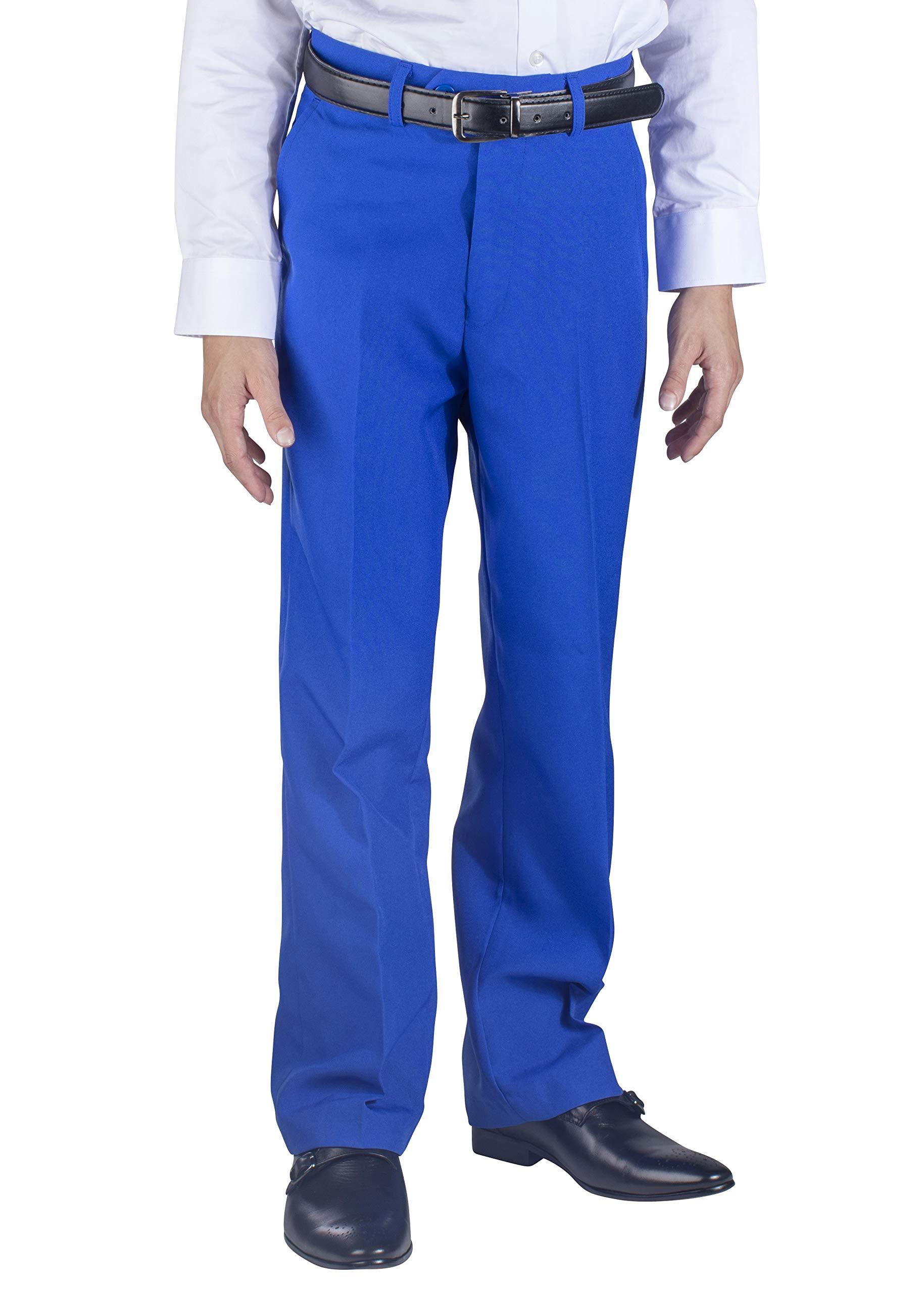 Alberto Cardinali Solid Belted Flat Front Boys Dress Pants (12, Royal Blue)