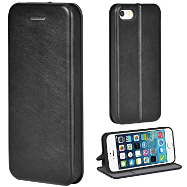 size 40 34087 d5b13 Leaum iPhone SE Case, iPhone 5S Leather Folio Case with Stand Function Slim  Flip Phone Case Cover for Apple iPhone SE / 5S / 5 (Black)