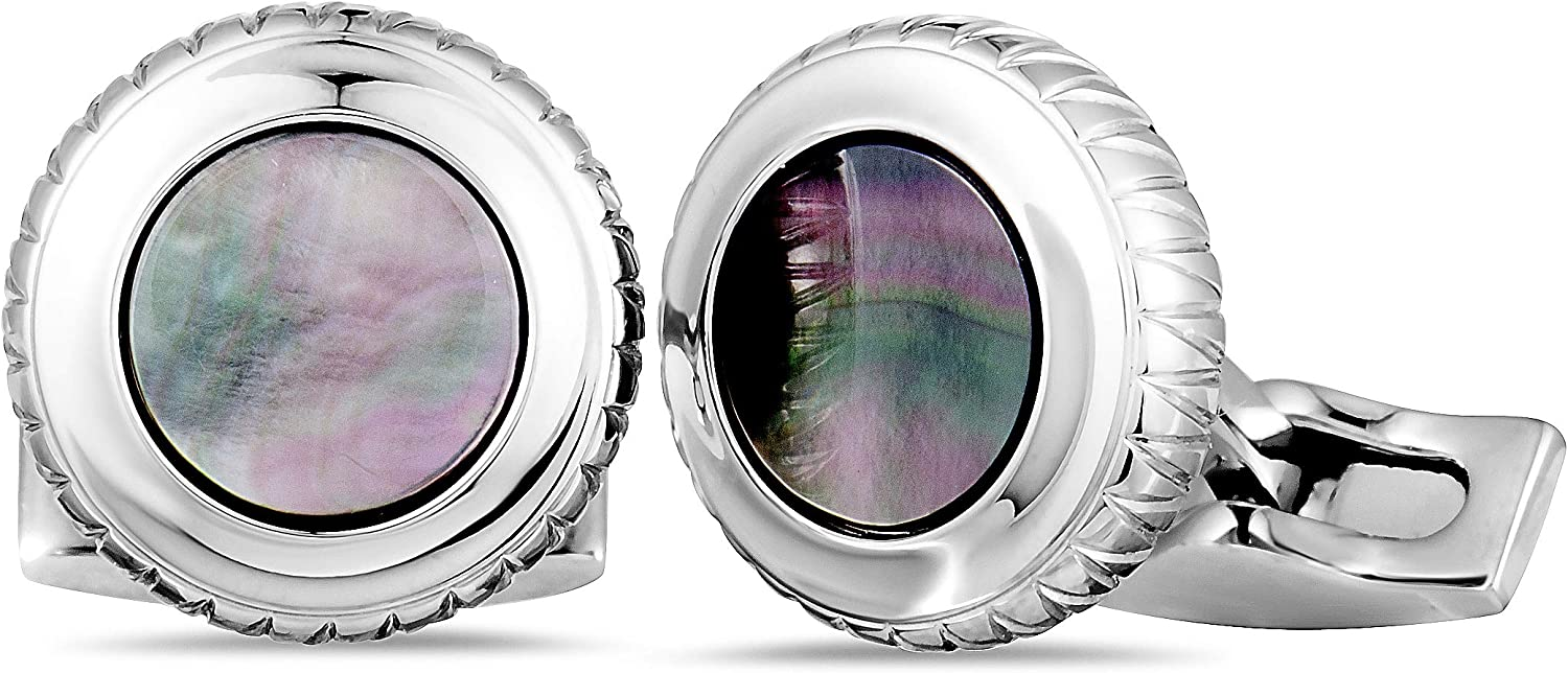 Charriol Columbus Stainless Steel Black Mother of Pearl Round Cufflinks