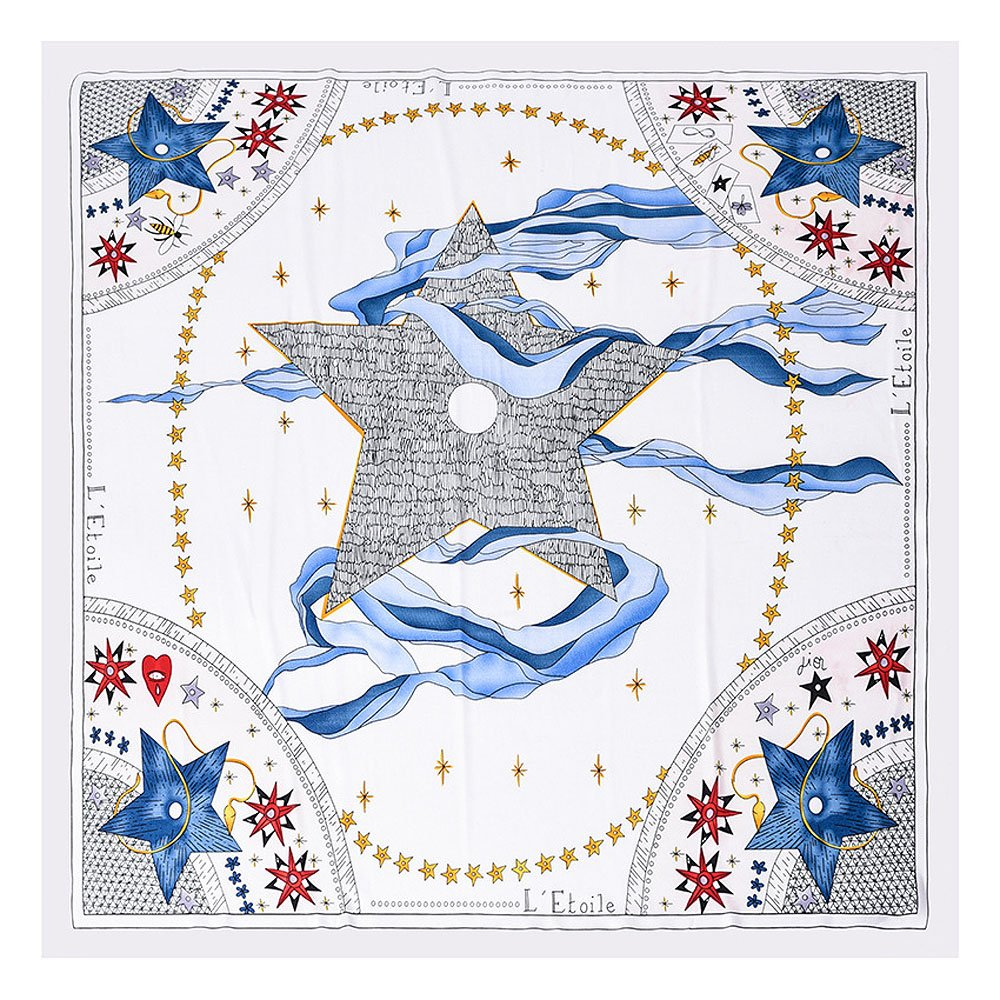 BEEYA Womens Abstract Style Tarot Pattern Silk Scarf for Hair Star Print Square Neckerchief Headscarf 28x28 Inches