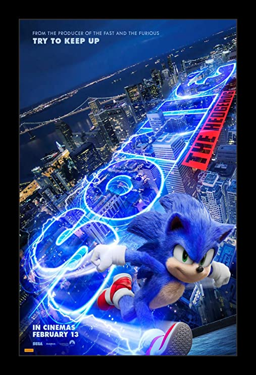 Amazon Com Wallspace 11x17 Framed Movie Poster Sonic The Hedgehog Posters Prints