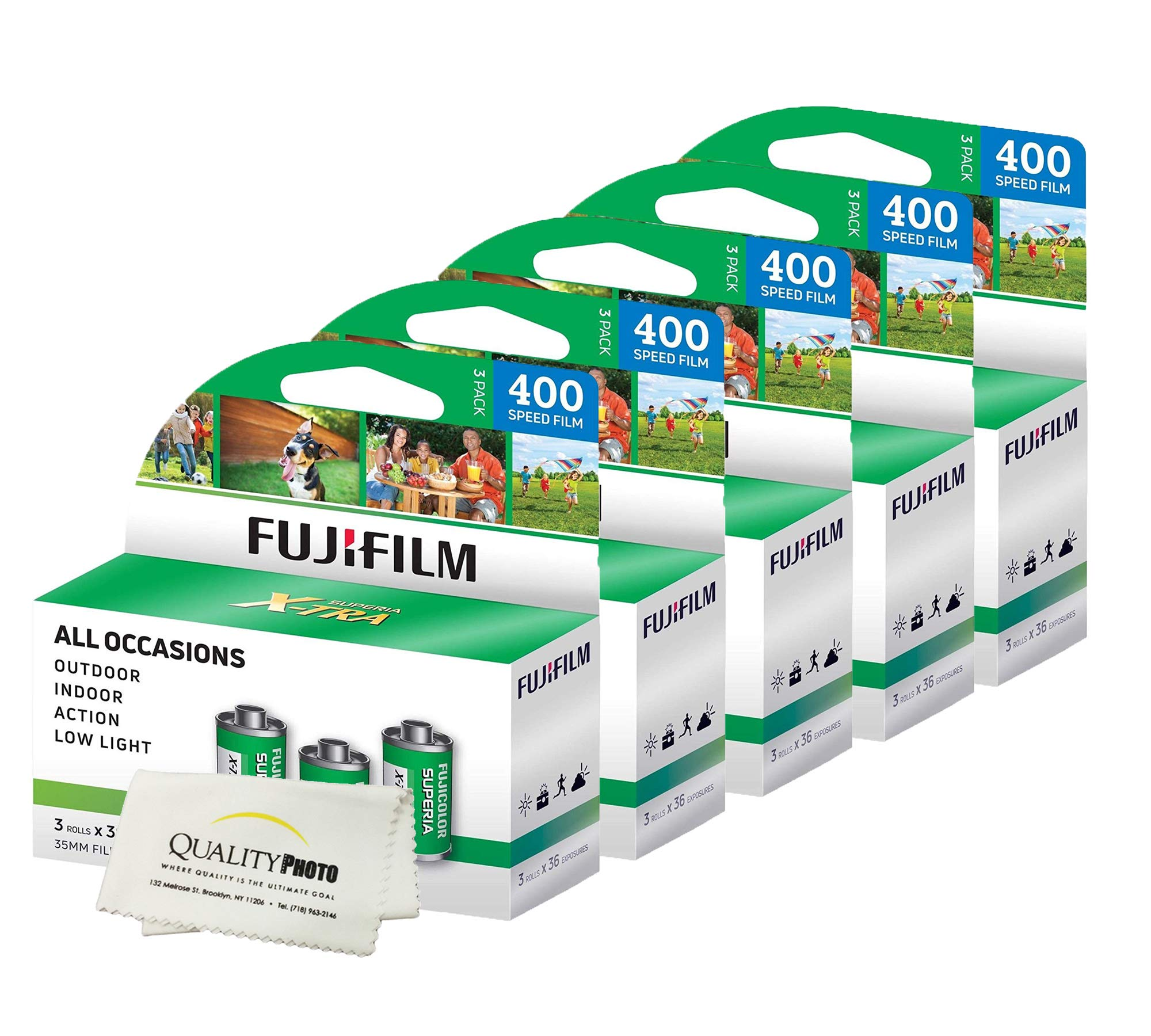Fuji Superia X-TRA 3 Pack ISO 400 36 Exp. 35mm Film, Total 108 Exposures (5 Pack) + Quality Photo Ultra Soft Microfiber Cloth by Fujifilm