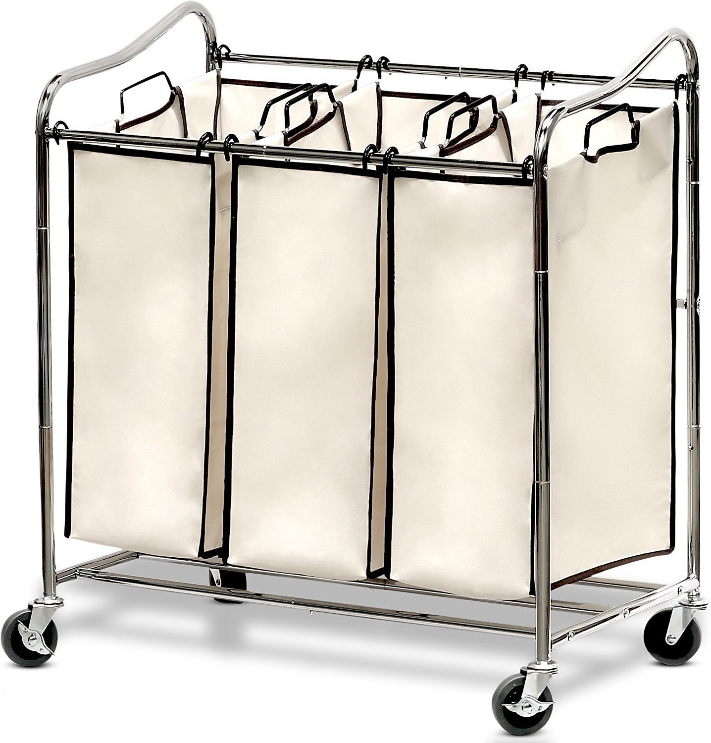 Heavy-Duty 3-Bag Laundry Sorter Cart, Chrome
