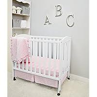 American Baby Company Heavenly Soft Minky Dot 3-Piece Mini/Portable Crib Bedding Set, Pink