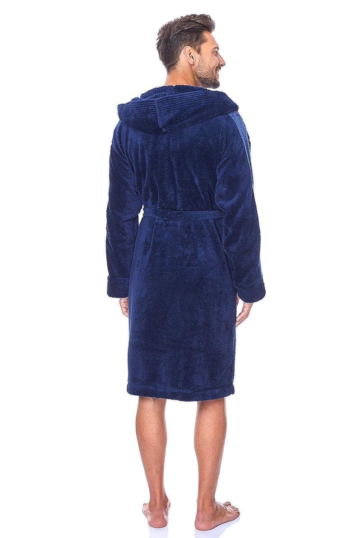 Vestaglia con Cappuccio per Uomo L/&L Estremamente Leggero 9150 Accappatoio Manica Corta per Asciugamano Corto