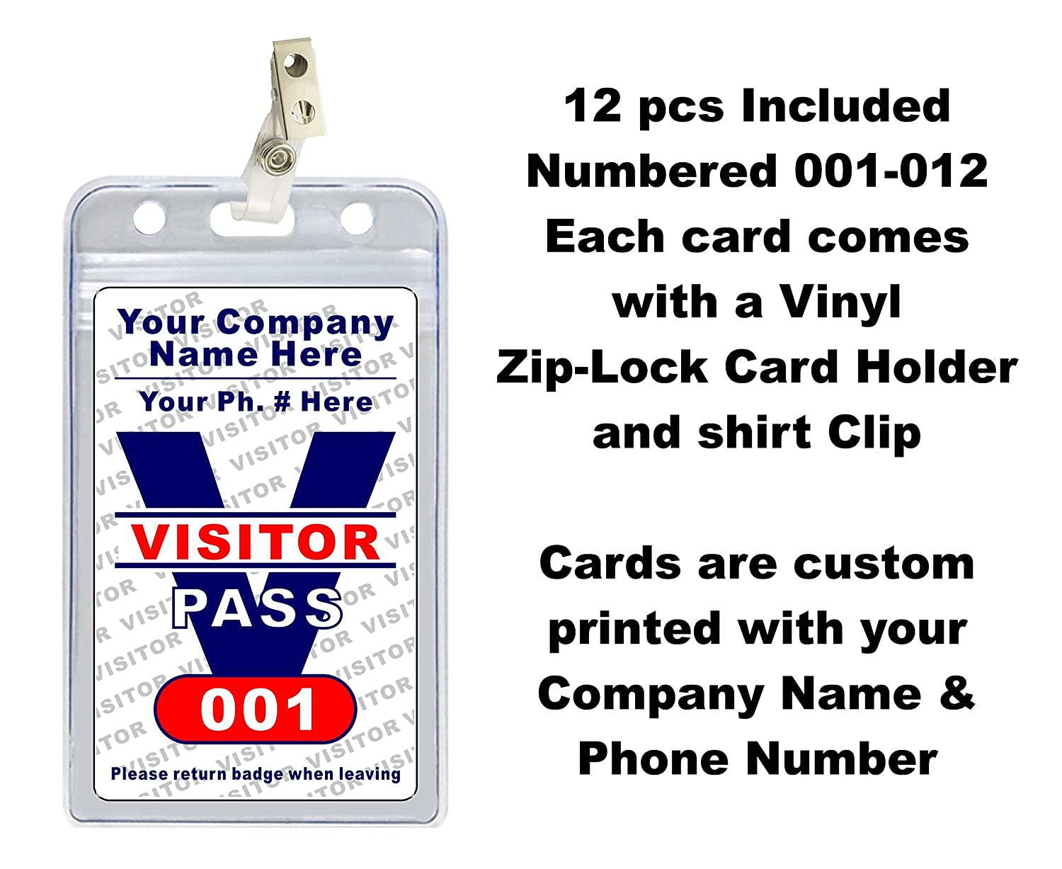 Visitor Pass Badges (12 pcs) - PVC Plastic {Custom Printed with Your  Company Name} 12 pcs - Badge Holders & Clips Included
