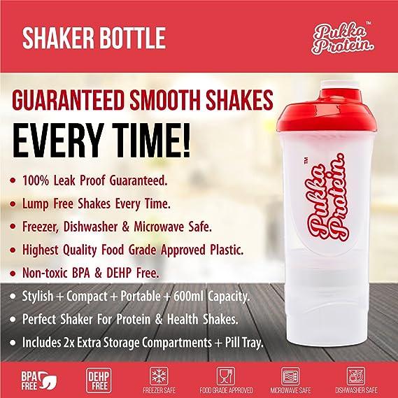 Botella Mezcladora PUKKA PROTEIN con Compartimentos - Botella Mezcladora para Batidos de Proteínas Grande de 500ml con 2 Compartimentos Desmontables ...