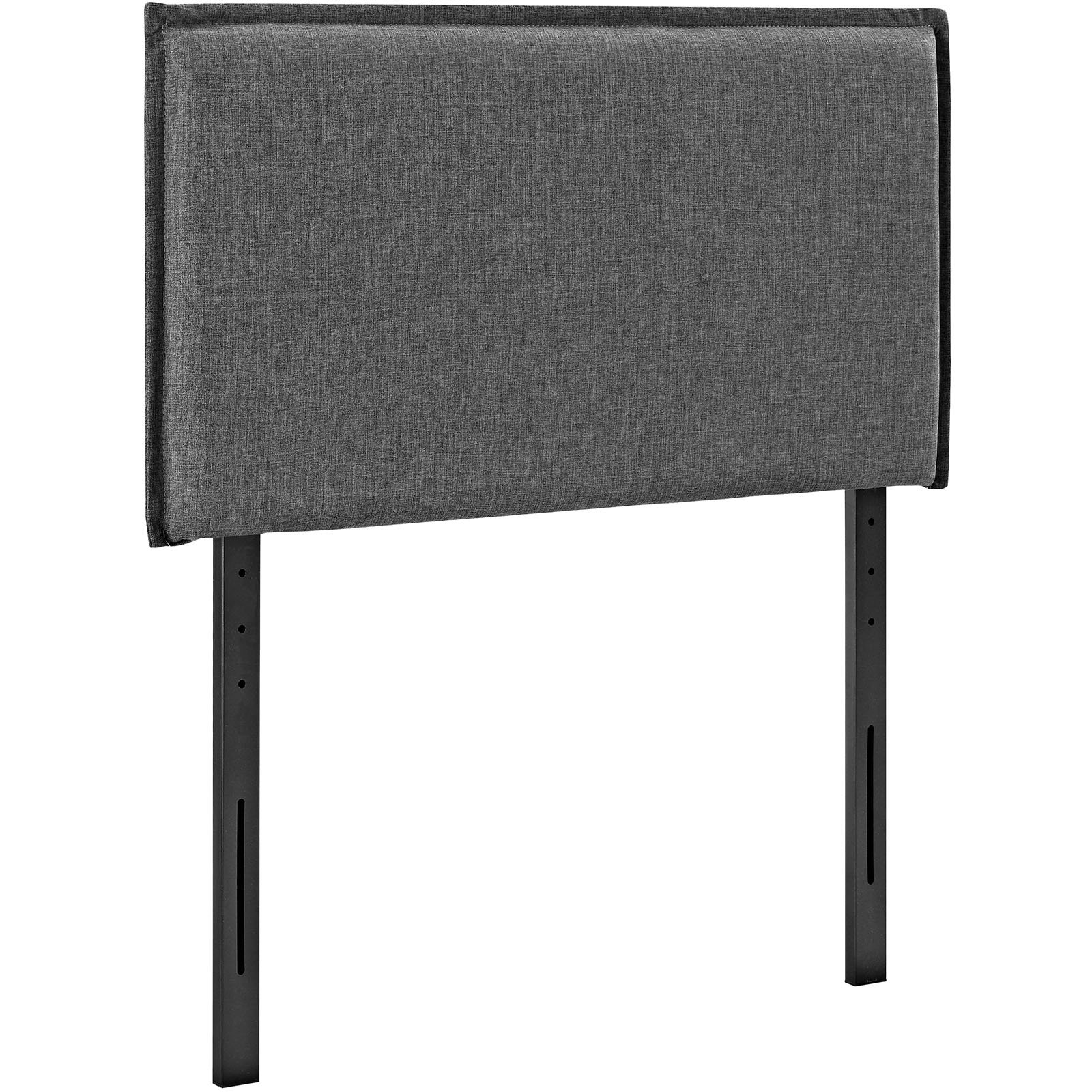 Modway Camille Linen Fabric Upholstered Twin Headboard in Gray with French Piping