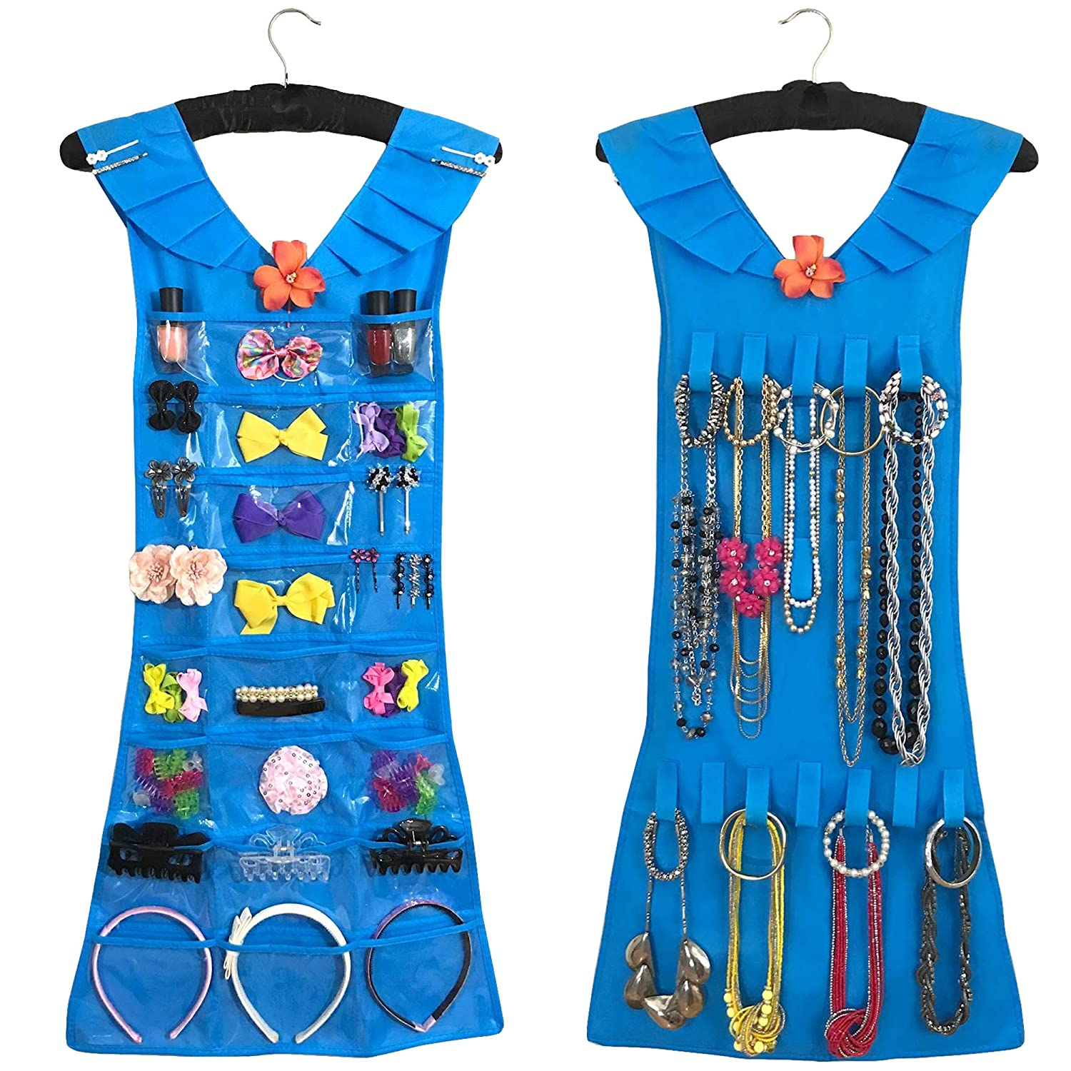 Marcus Mayfield Hanging Jewelry Organizer|Closet Storage for Jewelry-Hair Accessories-Makeup-Necklaces-Bracelets-Earrings (Black Satin Hanger, Bright Blue Dress, 27 Pockets 18 Hooks)