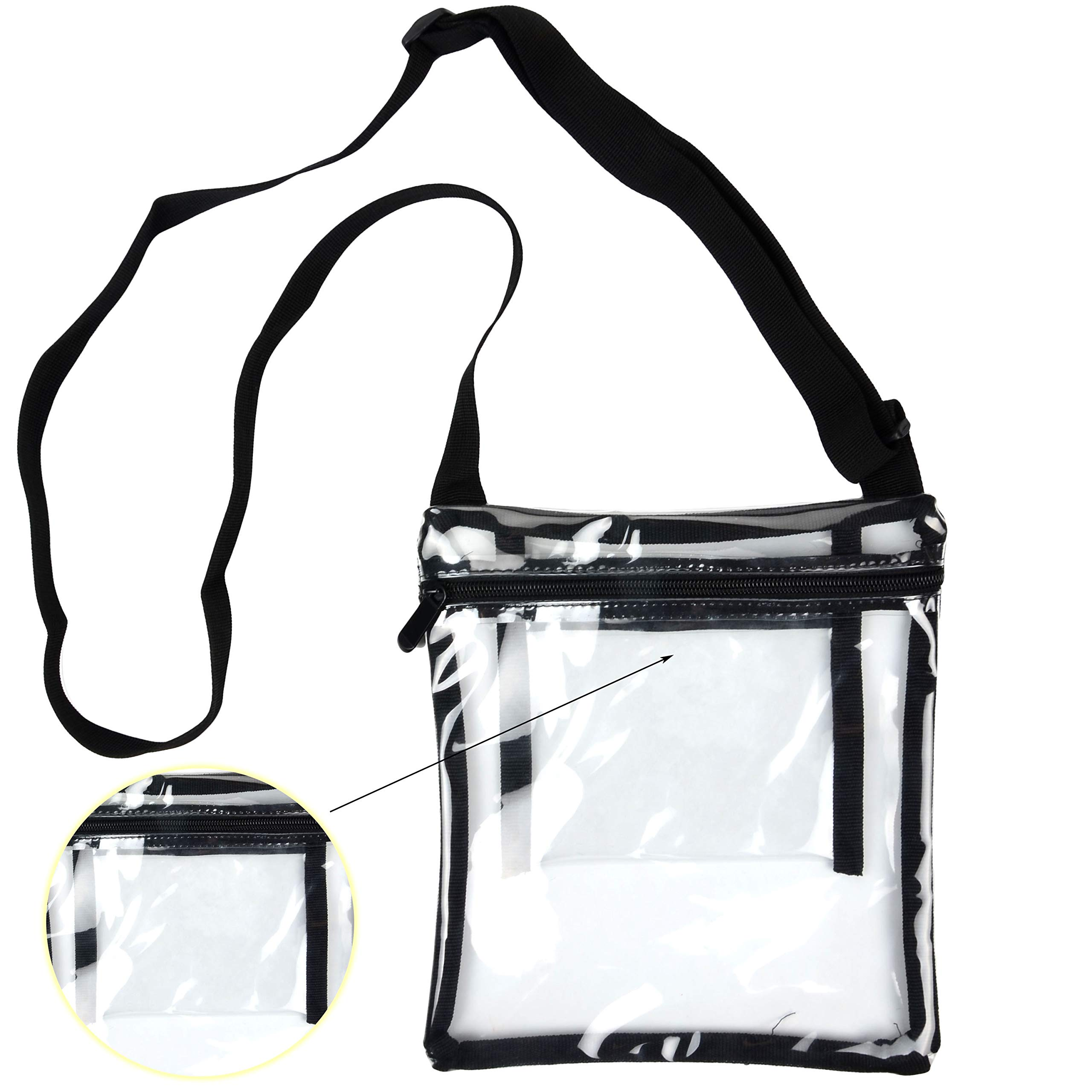 Youngever Deluxe Clear Cross-Body Purse, NFL and PGA Stadium Approved Clear Vinyl Bag - Adjustable Cross-Body Strap Clear Plastic Bag, Larger Size, Extra Inside Pocket