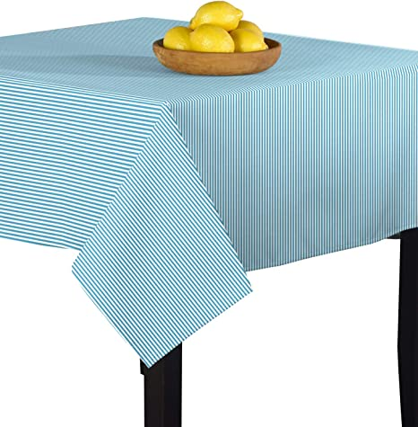 Amazon Com Fabric Textile Products Light Blue White Pinstripe Tablecloth 70 X70 Home Kitchen