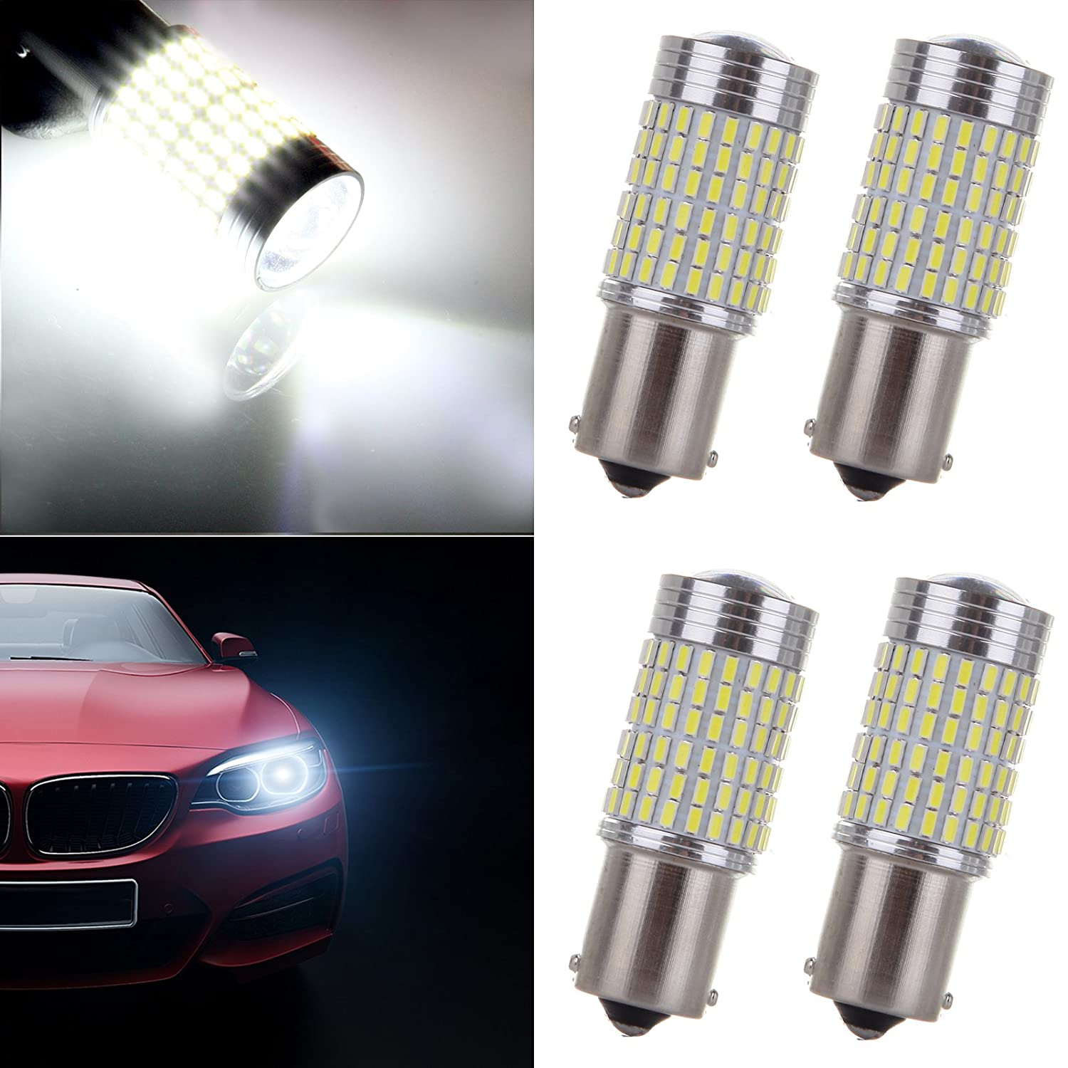 OCPTY 1156 LED Light Bulbs 1141 1073 7506 144-EX Chipsets LED bulb Replacement fit for Back Up Reverse Lights, 4x White 808265-5209-1706131
