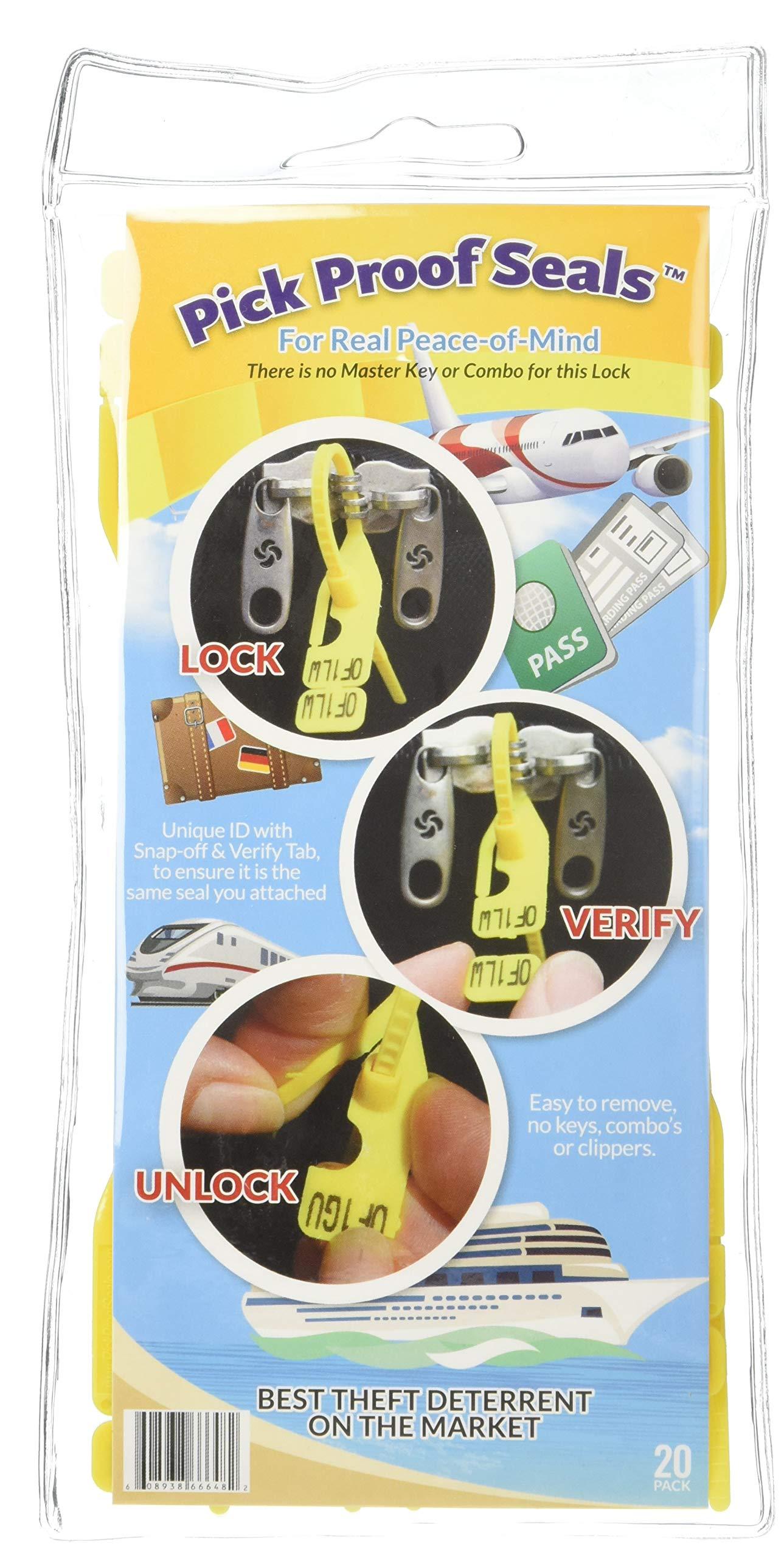 Pick Proof Seals - TSA Accepted Luggage Locks (3 Packs = 60 Total Seals)