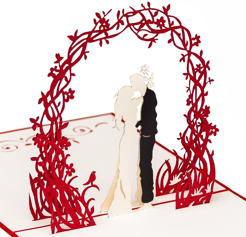 Moderne Hochzeitskarte Paar Unter Fliederbogen 3d Pop Up