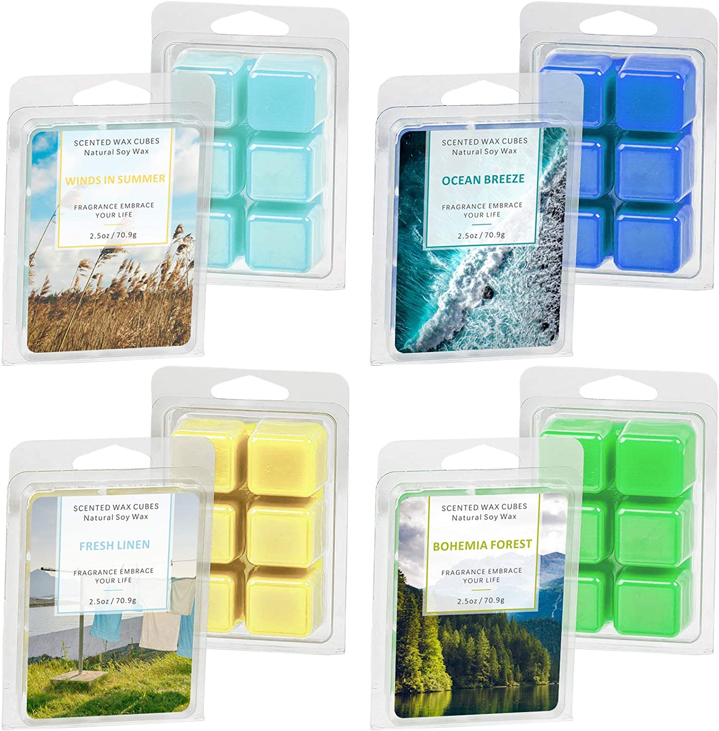 LASENTEUR Scented Wax Melts for Warmer Cubes/Tarts, Set and Home Fragrance for Candle Wax Warmer (Ocean, Linen, Forest, Winds in Summer) Nature Wax 4 x Packs