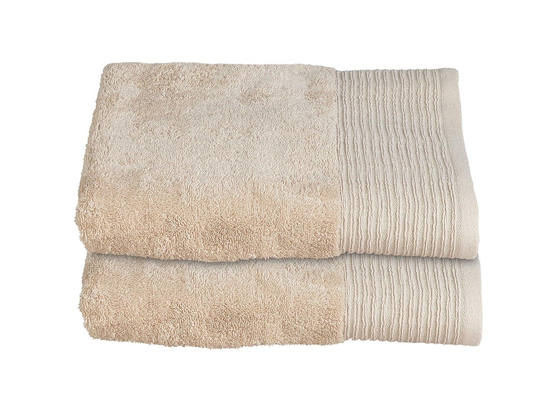 Allure Bath Fashions Luxury Supersoft Sparkle Border Cotton Bath Towels, Absorbent and Quick Dry Bath 2 Pack Towel Bale 130 x 70cm 500gsm Bathroom Towel - Stone, Neutral (2x Bath Towels)