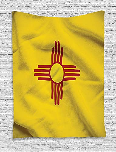 Ambesonne American Tapestry, New Mexico of United States Flag with Sun of The Zia on a Field Waving, Wall Hanging for Bedroom Living Room Dorm Decor, 40 X 60 , Yellow Red