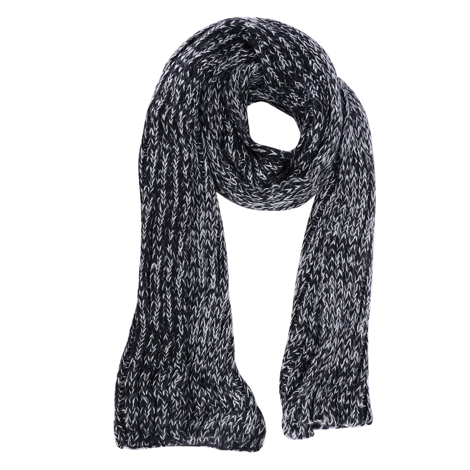 color  2 Women Men Knit Scarf Cold Weather Winter Thicken Warm Woolen Long Shawl Scarves