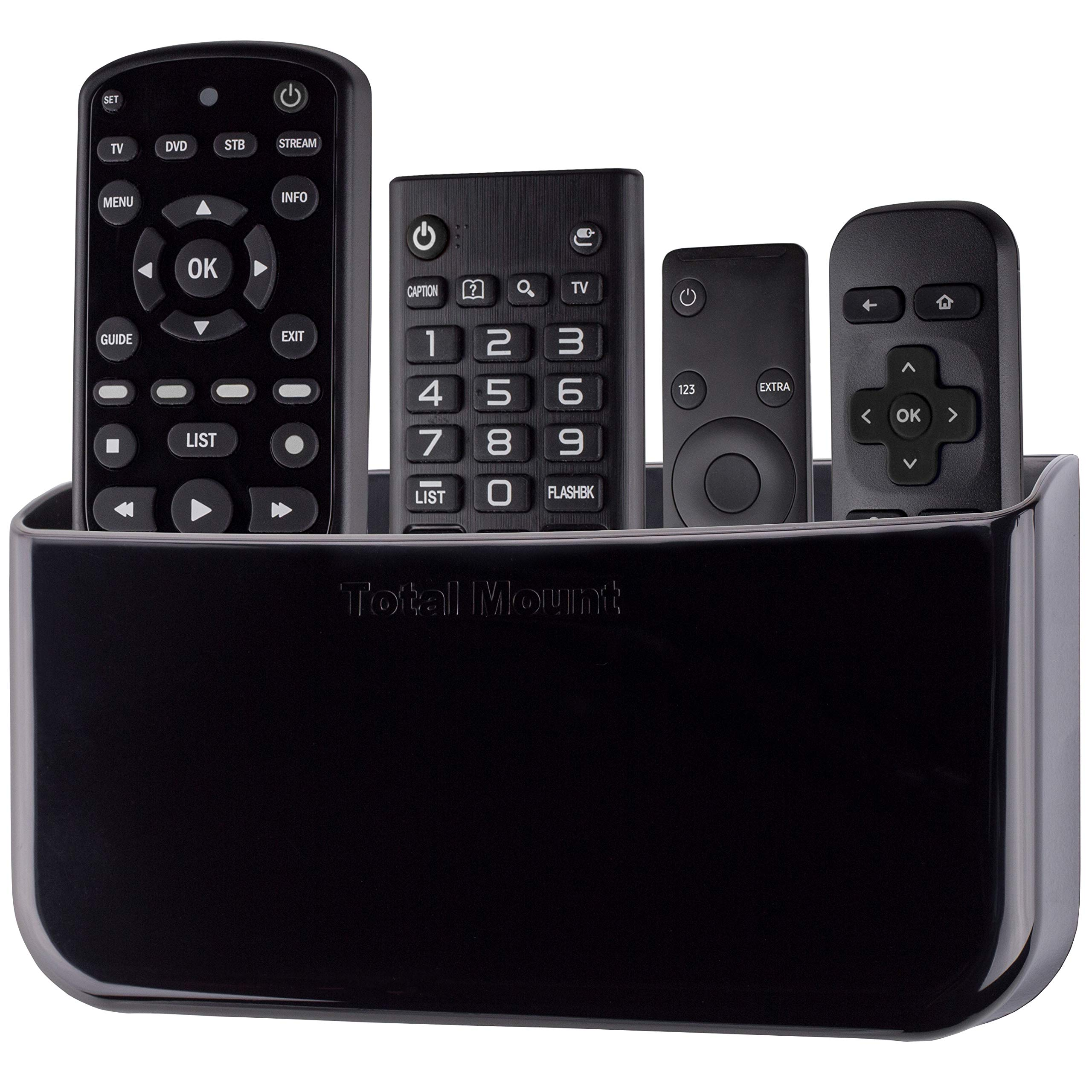 TotalMount Hole-Free Remote Holder - Eliminates Need to Drill Holes in Your Wall (for 3 or 4 Remotes - Black - Quantity 1) by TotalMount