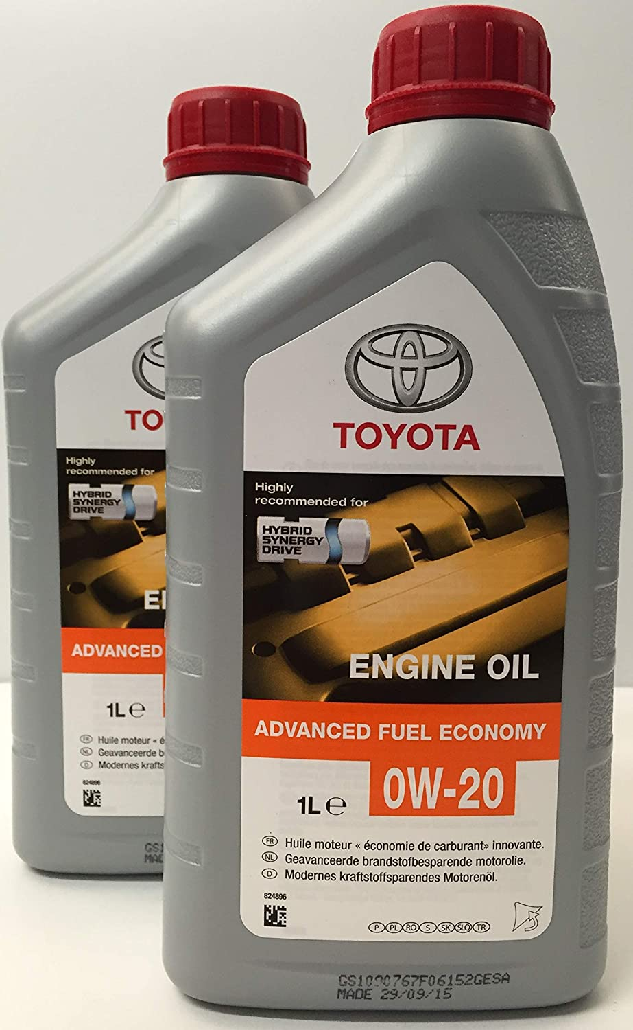 Toyota Genuine Synthetic Engine Oil 0w 20 Hybrid Engines Pack 2 Litres Auto