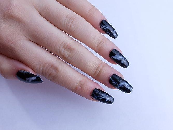 Amazon.com: Black Marble Custom Press on Nails: Handmade