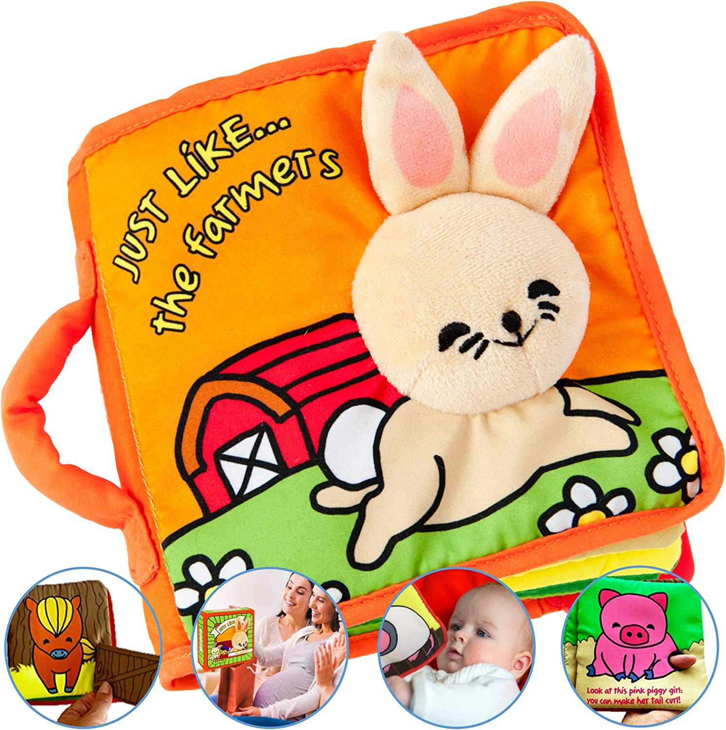 Premium Soft Baby Book First Year, Cloth Book Bunny with Crinkly Sounds, Fun Interactive Toy, Fabric Book for Babies & Infant 1 Year Old (Boy, Girl), Cute Baby Shower Gift, Touch and Feel Activity