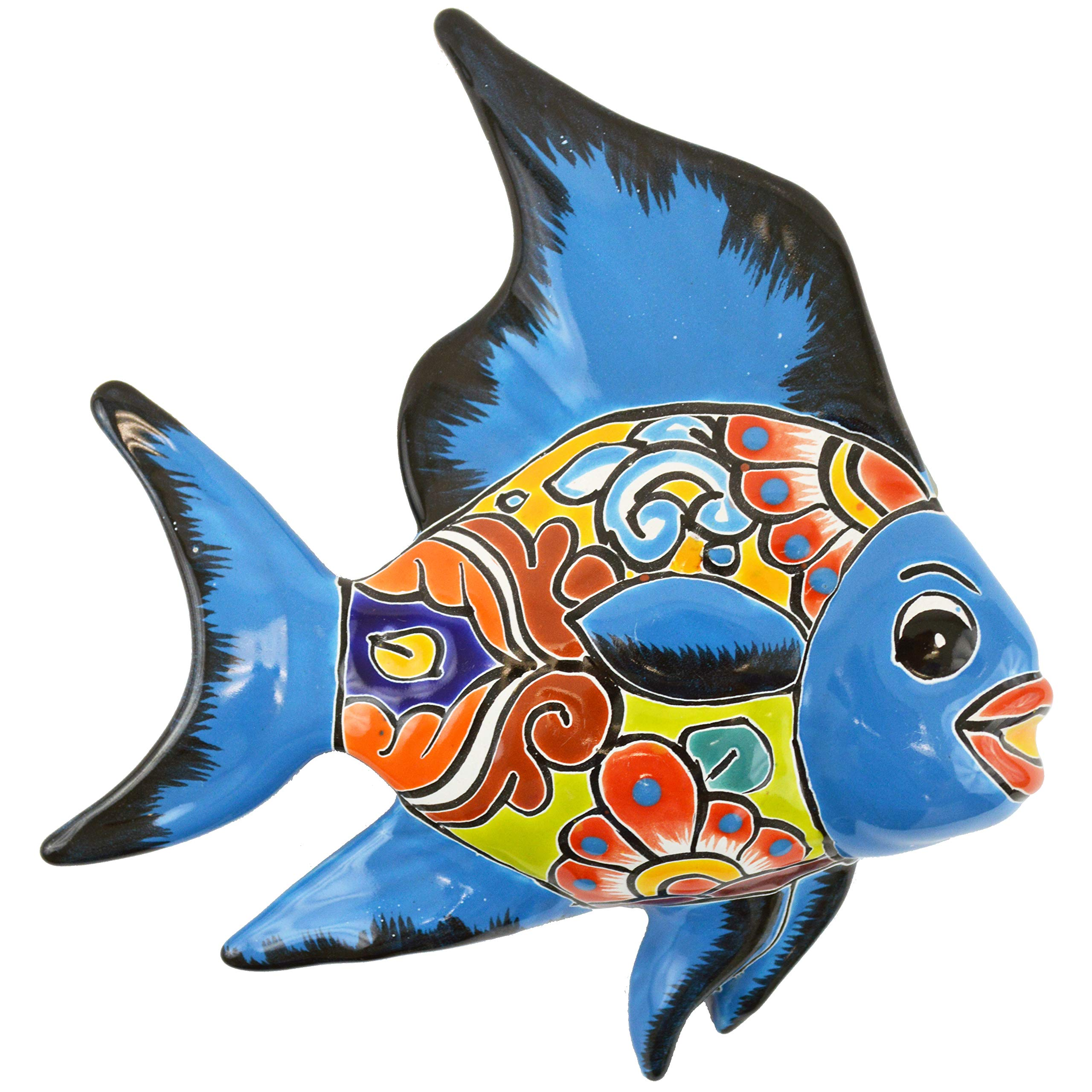 Avera Products Talavera Wall Angel Fish 8x11 Hand Painted Ceramic Garden Decor (Turquoise)