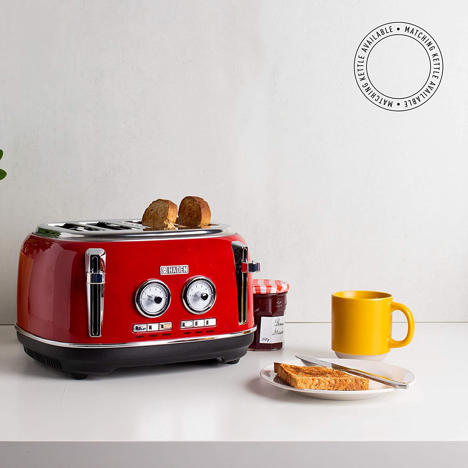4 Slice Toaster, Red Haden Jersey Toasters