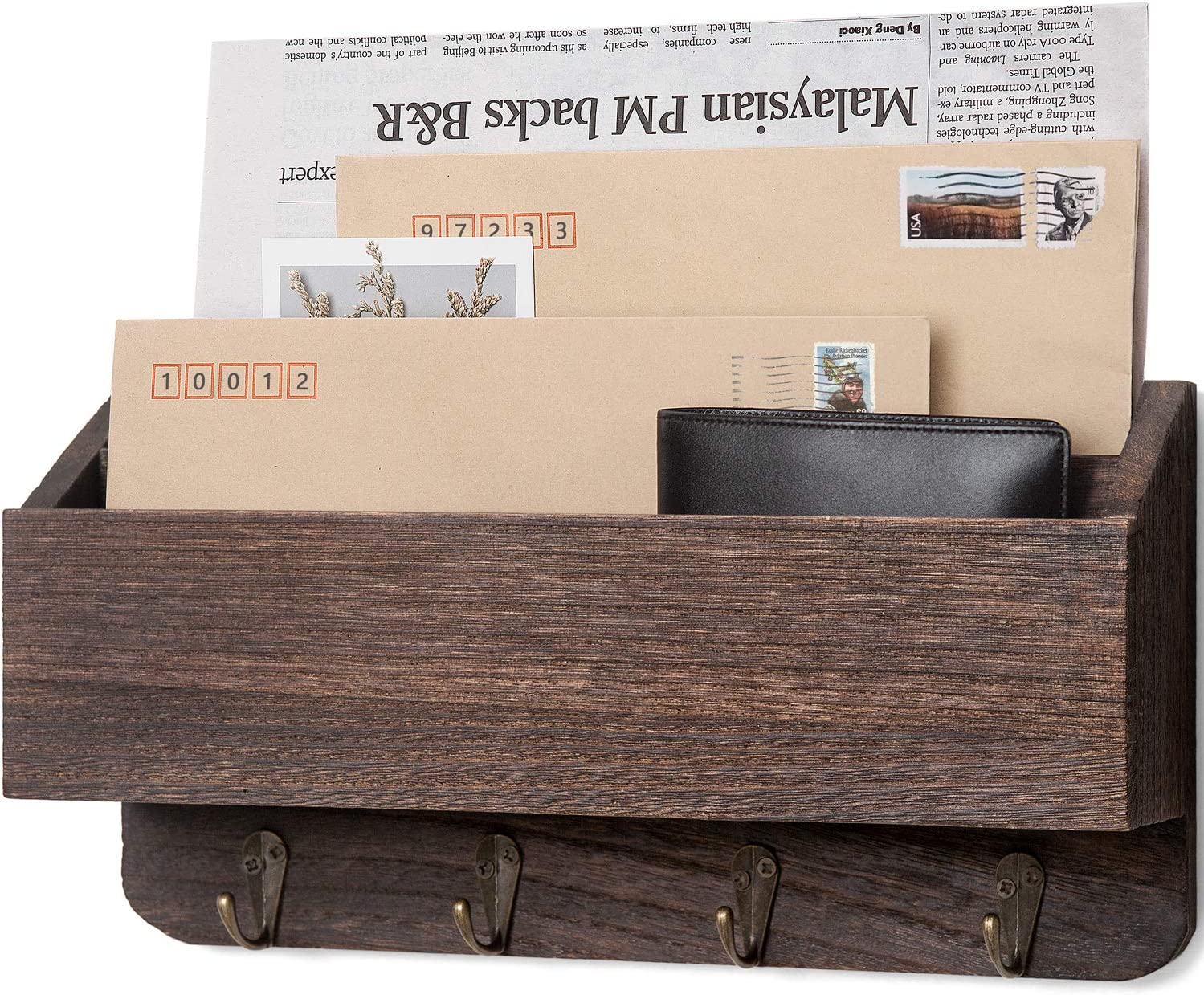 Holder Wooden Mail Sorter Organizer with 4 Key Hooks and A Floating Shelf Rustic