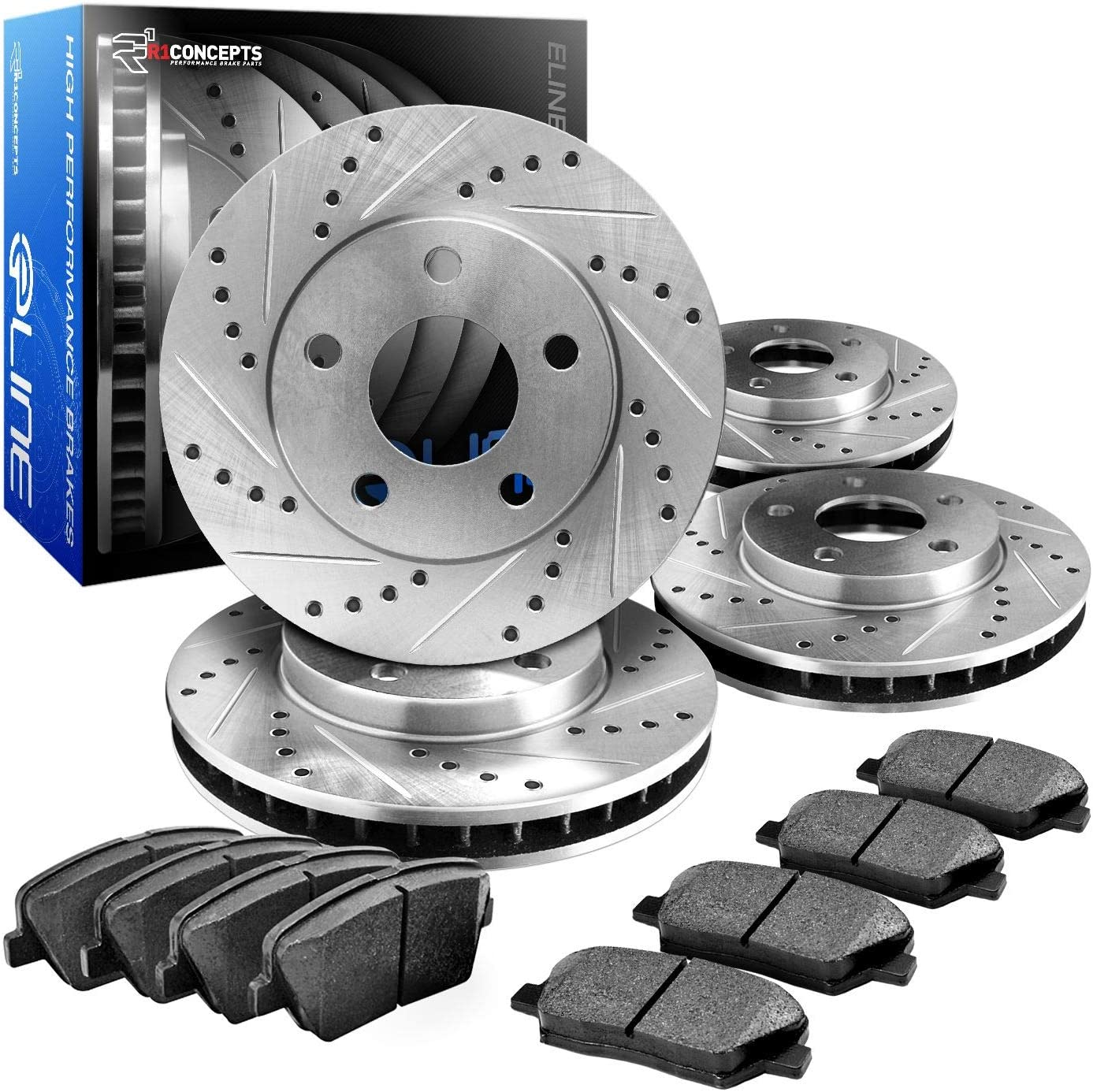 Front and Rear R1 Concepts CEDS10159 Eline Series Cross-Drilled Slotted Rotors And Ceramic Pads Kit