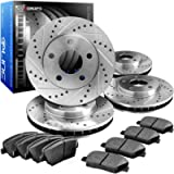 R1 Concepts CEDS10083 Eline Series Cross-Drilled Slotted Rotors And Ceramic Pads Kit - Front and Rear