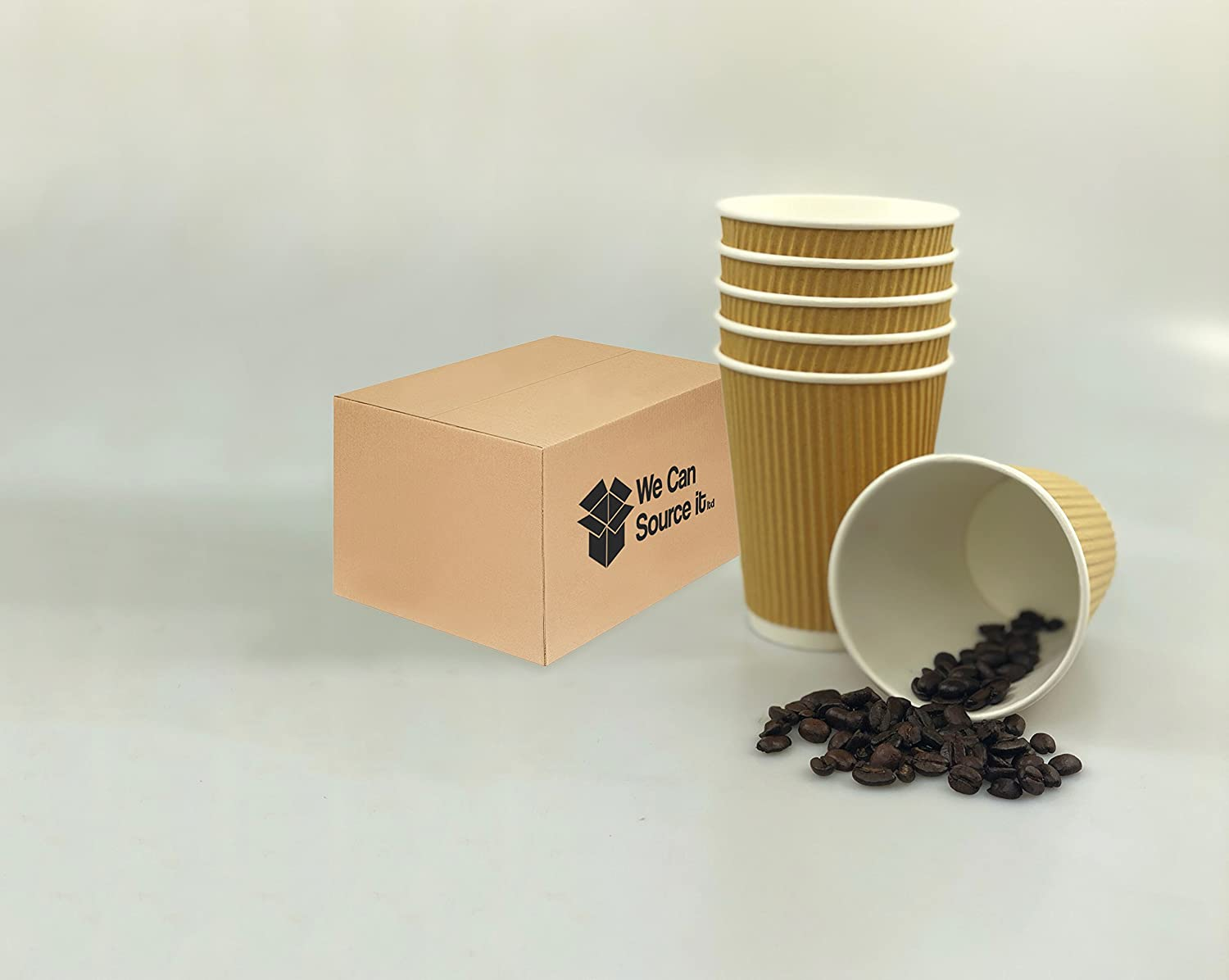 White Lids Disposable Paper Hot Coffee Tea Drinking Cups 12oz We Can Source It Ltd 3 Ply Insulated Paper Cups 1000 x Kraft 12oz Ripple Cups