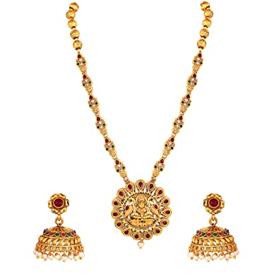 MEENAZ South Indian Temple Jewellery Long Haram Laxmi Mala Matte Gold  Traditional Pearl Jhumki Earrings Necklace Jewellery Sets for Women Girls