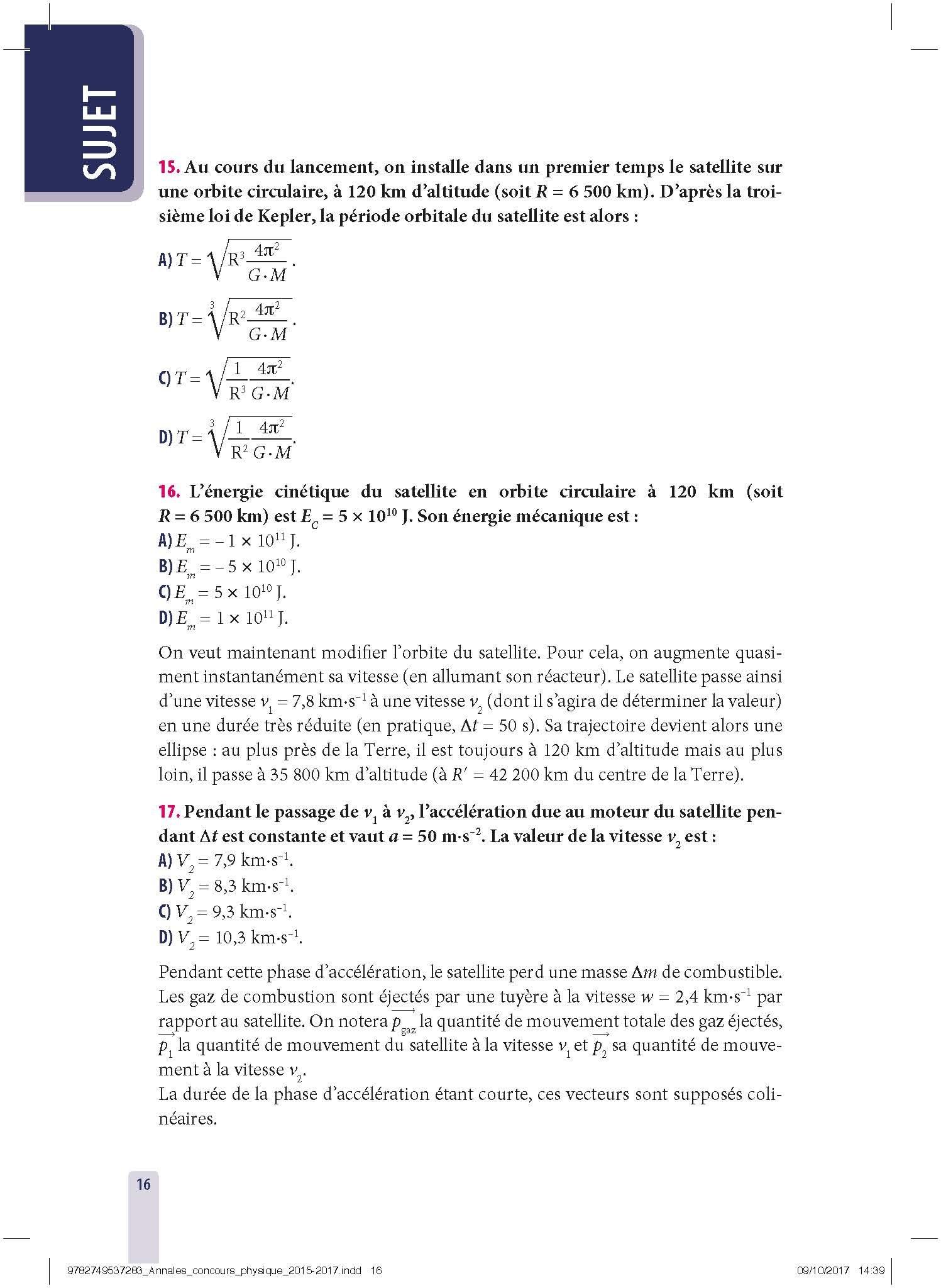 Physique - Annales corrigés, concours Avenir et Puissance 11 de 2015 à 2017 : Réussir les concours ingénieurs: 9782749537283: Amazon.com: Books