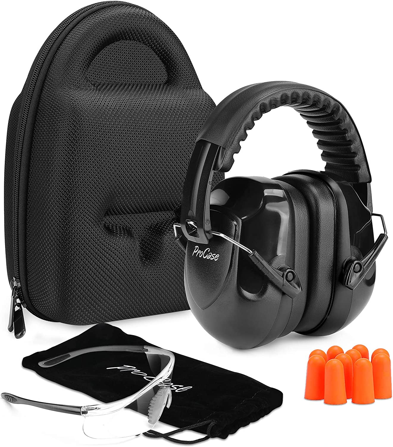 ProCase Shooting Ear Protection Earmuffs, Gun Safety Glasses and Soft Earplugs, Shooting Range Accessories with Protective Case, Gun Range Ear and Eye Protection Kit, Shooting Safety Equipment
