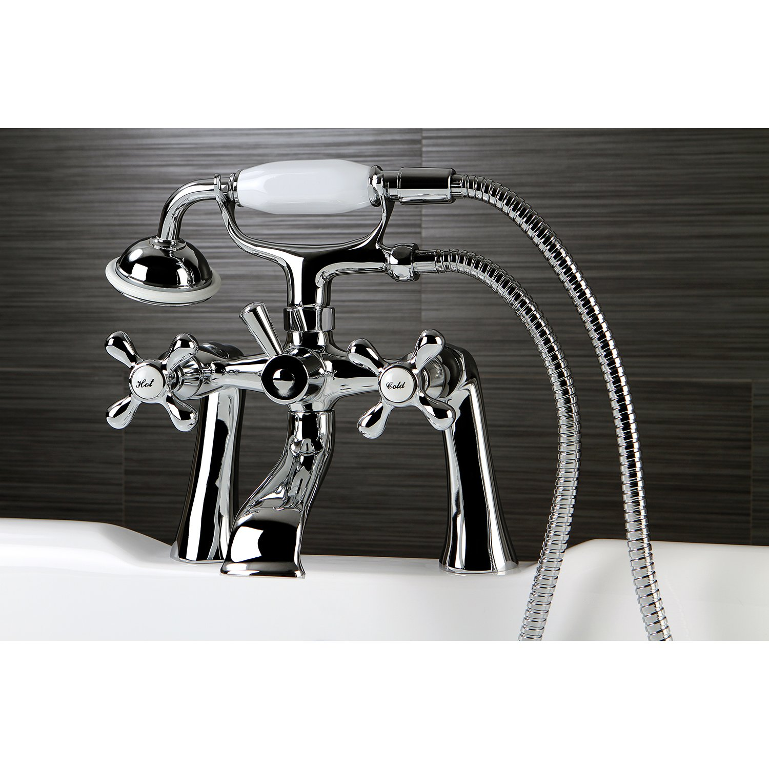 Kingston Brass KS268PB Victorian 7-Inch Deck Mount Tub and Shower Faucet Polished Brass
