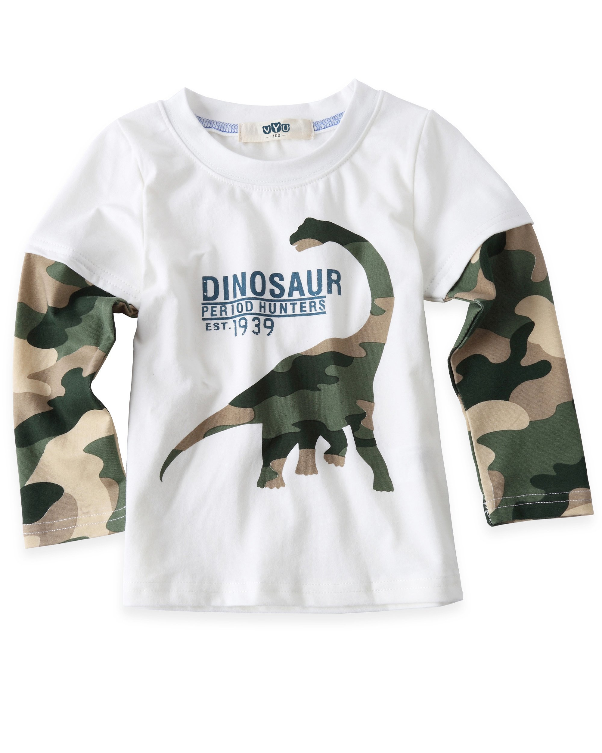 VYU Boys Long Sleeve Dinosaur Cartoon T-Shirts, White 6