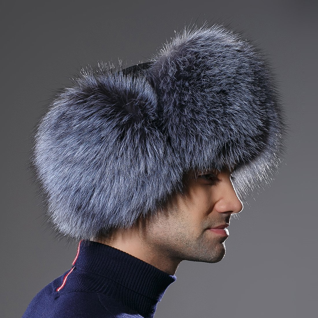 URSFUR Winter Mens Trapper Hat Real Leather Silver Fox Fur Russian Ushanka Cap by URSFUR (Image #3)