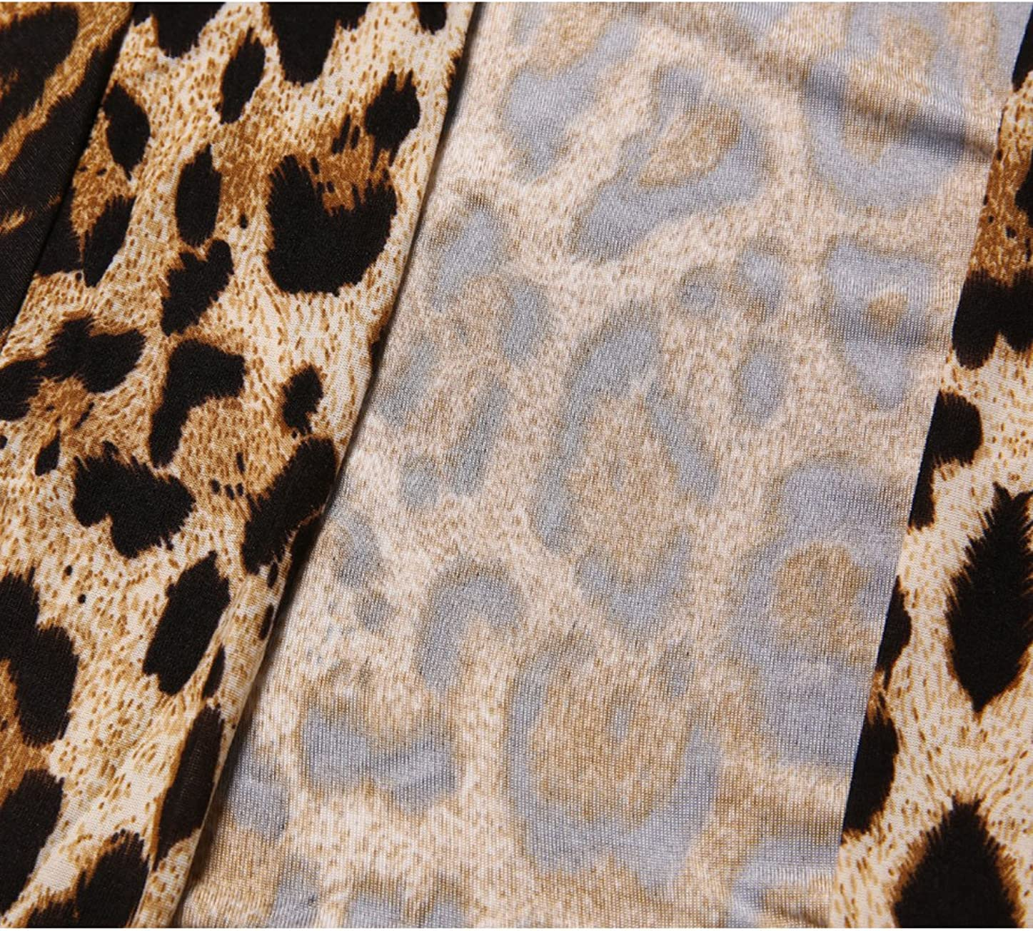 Allegra K Damen Langarm Offen Ruffles Leopard Strickjacke Cardigan