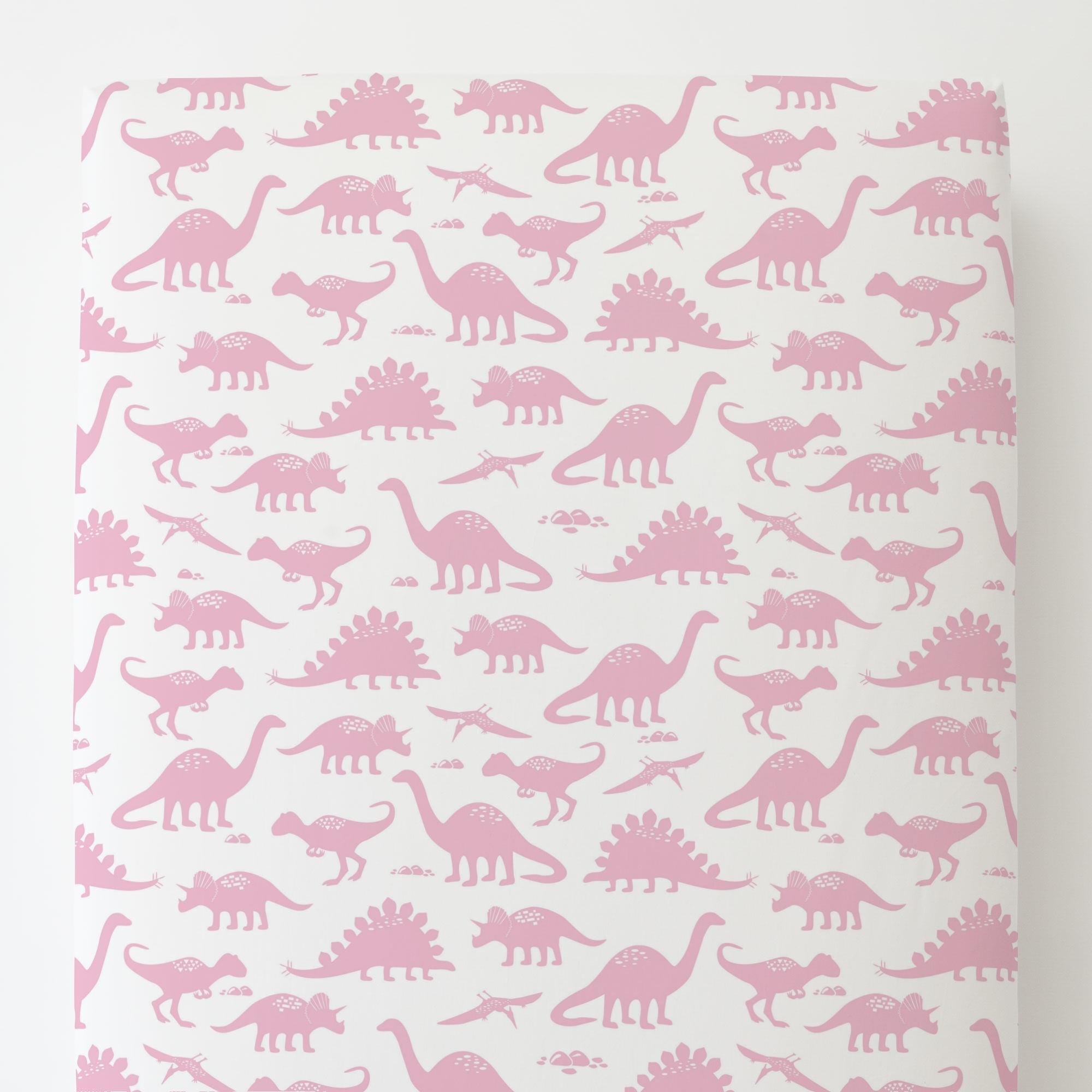 Carousel Designs Bubblegum Pink Dinosaurs Toddler Bed Sheet Fitted