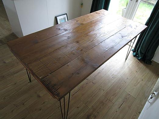 Mesa de comedor industrial, patas de horquilla con madera ...