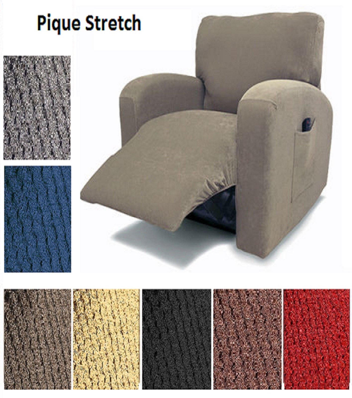 Orly's Dream Pique Stretch Fit Furniture Chair Recliner Lazy Boy Cover Slipcover Many Colors Available (Brown)