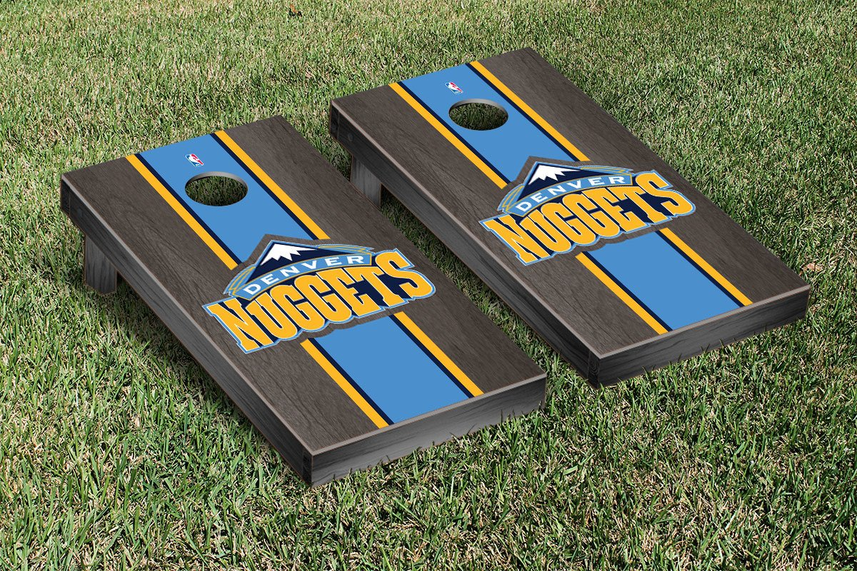 Denver Den Nuggets NBA Basketball Cornhole Game Set Onyx Stained Stripe Version by Victory Tailgate
