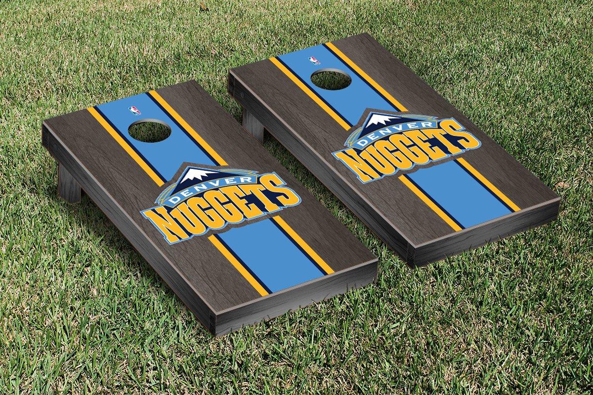 Denver Den Nuggets NBA Basketball Cornhole Game Set Onyx Stained Stripe Version