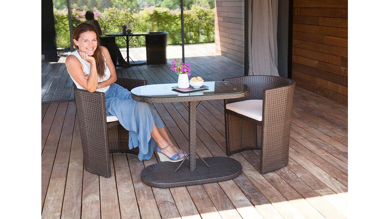 baumarkt direkt Gartenmöbelset Napoli, 2 Sessel, Tisch 100x50 cm, Polyrattan, braun braun