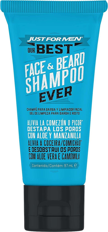Just For Men, Champú Barba y Limpiador Facial, Cuidado Diario con Avena, Aloe, Manzanilla y Aceite de Jojoba