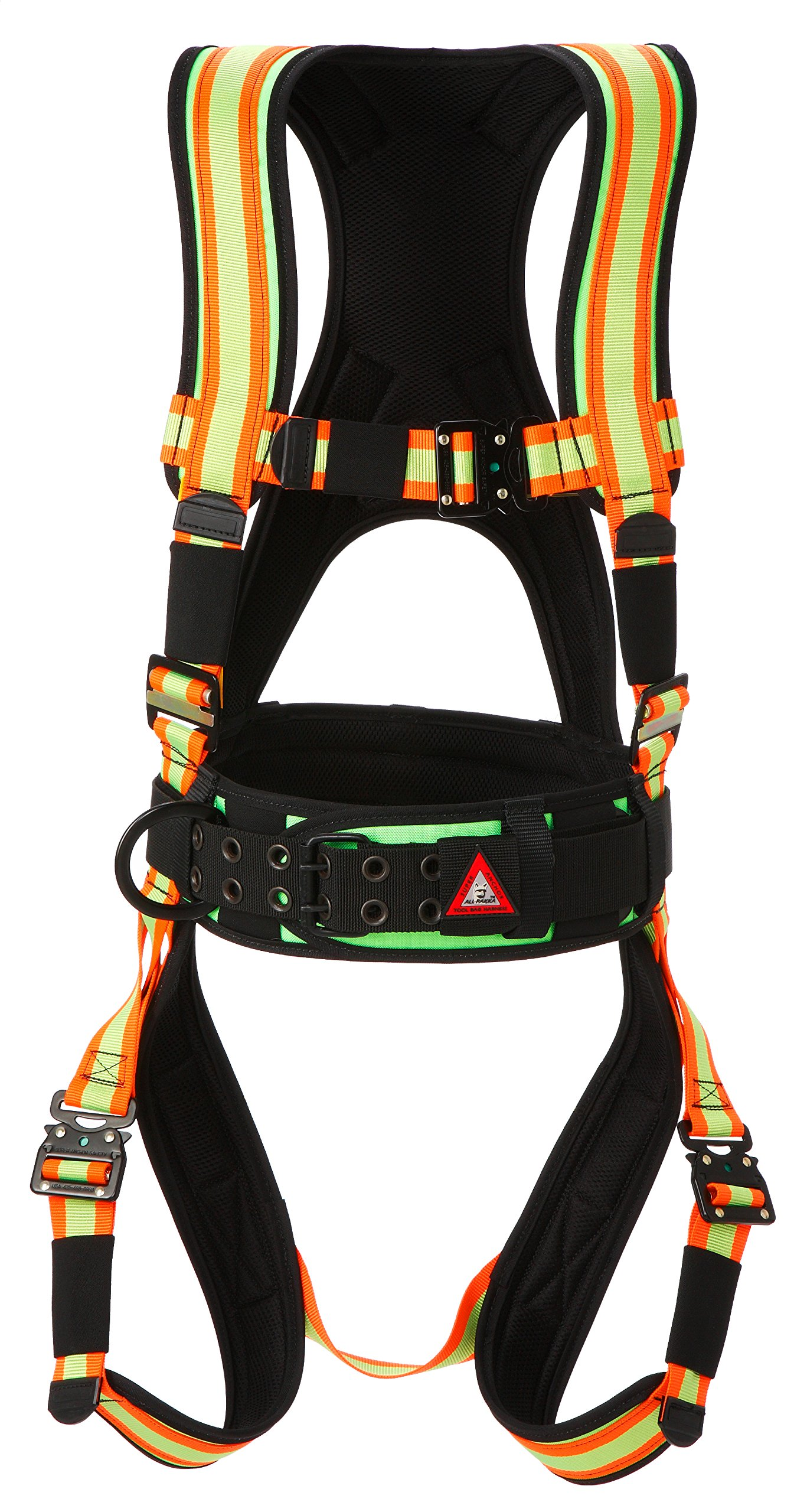 Super Anchor Safety 6101-HM Deluxe Full Body Harness, Medium, Hi-Viz